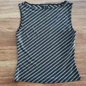 My Michelle Large Black Sequin Sleeveless Top